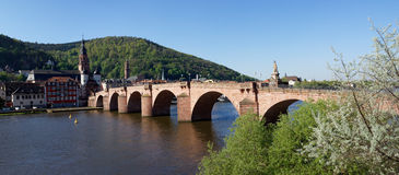 Panorama of old bridge in Heidelberg, Germany Royalty Free Stock Photo