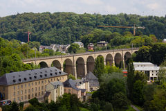 A panorama of old bridge in Luxembourg. A panorama of the old bridge in Luxembourg city Royalty Free Stock Image