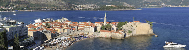 Panorama of old Budva stock image