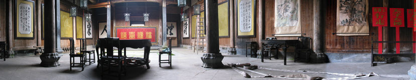Panorama in an Old Chinese House Royalty Free Stock Images