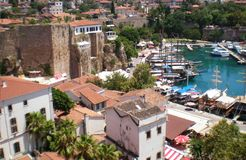 Panorama of the old city of Antalya. Overlooking the bay of Mediterranean Sea royalty free stock photo