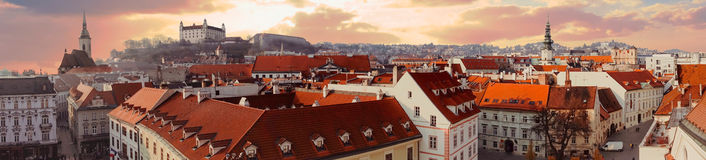 Panorama of old city in Bratislava Royalty Free Stock Photo