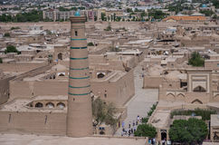 Panorama of the old city from the height of the minaret, Khiva, Stock Photos
