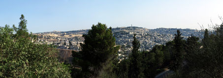 Panorama of the Old City of Jerusalem Royalty Free Stock Photo