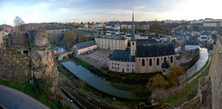 Panorama of the Old City of Luxembourg Stock Images