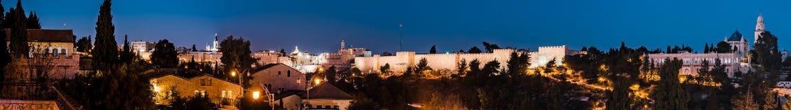 Panorama - Old City at Night, Jerusalem. Illuminated, historic. royalty free stock images