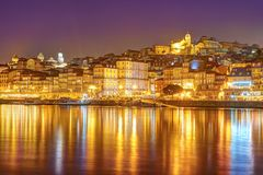 Panorama old city Porto and river Duoro at sunset. Portugal Stock Photos
