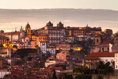 Panorama old city Porto at sunset, Oporto, Portugal Royalty Free Stock Photography