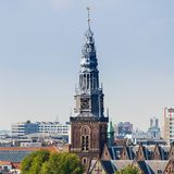 Panorama of the old city quarter in Amsterdam. Aerial view. Royalty Free Stock Image