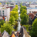 Panorama of the old city quarter in Amsterdam. Aerial view. Stock Image