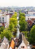 Panorama of the old city quarter in Amsterdam. Aerial view. Stock Images