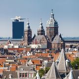 Panorama of the old city quarter in Amsterdam. Aerial view. Stock Photo