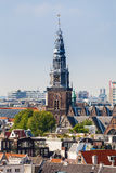 Panorama of the old city quarter in Amsterdam. Aerial view. Royalty Free Stock Photos