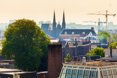 Panorama of the old city quarter in Amsterdam. Aerial view. Royalty Free Stock Images
