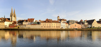 Panorama of old city Regensburg Royalty Free Stock Photography