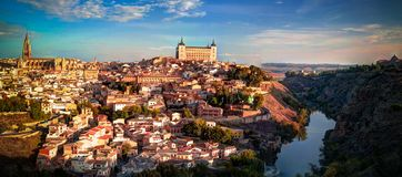 Panorama of the old city of Toledo, Tagus river, Spain stock photo