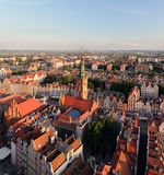 Panorama of the old city and town hall in Gdansk Stock Image