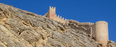 Panorama of the old city wall of Albarracin Royalty Free Stock Images