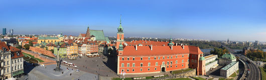 Panorama of old city in Warsaw Royalty Free Stock Photos
