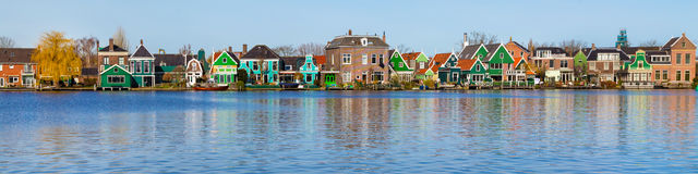 Panorama of old dutch traditional houses in Zaanse Schans and lake, Holland Stock Photo
