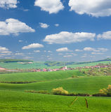 Panorama of Old European Town and nature, summer vacation concep Royalty Free Stock Photos
