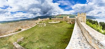 Panorama of Old fortress ruins of tzar Samuel in Ohrid in a beautiful summer day. Republic of Macedonia Stock Photos
