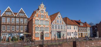 Panorama of the old harbor in Hanseatic city Stade Royalty Free Stock Photos