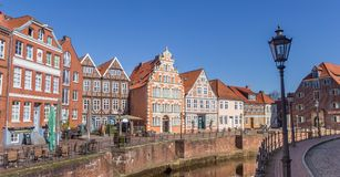 Panorama of the old harbor in Hanseatic city Stade Stock Photography