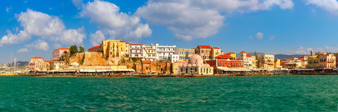 Panorama of old harbour, Chania, Crete, Greece Royalty Free Stock Image