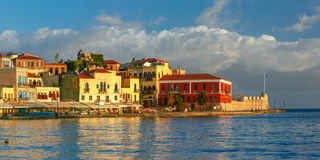 Panorama old harbour, Chania, Crete, Greece royalty free stock images