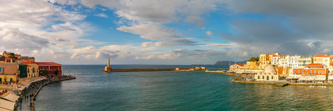 Panorama of old harbour, Chania, Crete, Greece Stock Photo