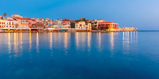Panorama old harbour, Chania, Crete, Greece stock photography