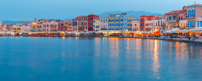 Panorama old harbour, Chania, Crete, Greece Stock Photos