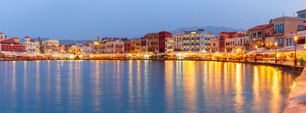 Panorama old harbour, Chania, Crete, Greece Royalty Free Stock Image