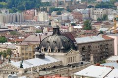 The landscape of the old part of the city of Lviv in Western Ukraine: historic buildings, cathedrals, architectural monuments, pav royalty free stock images