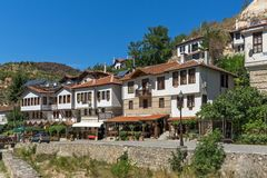 Panorama with Old houses in town of Melnik, Blagoevgrad region, Bulgaria Stock Images
