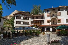 Panorama with Old houses in town of Melnik, Blagoevgrad region, Bulgaria Stock Photos