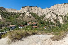 Panorama with Old houses in town of Melnik, Blagoevgrad region, Bulgaria Royalty Free Stock Photo