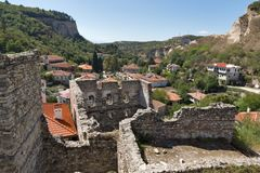 Panorama with Old houses in town of Melnik, Blagoevgrad region, Bulgaria Royalty Free Stock Image