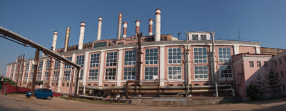 Panorama of old industrial building Royalty Free Stock Photo