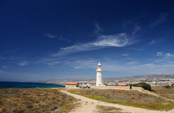 Panorama of old lighthouse near the city of New Paphos ,Cyprus Stock Image
