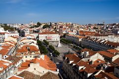 Panorama of old Lisbon with orange roofs Stock Photo