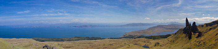 Panorama of the Old Man of Storr stock photo
