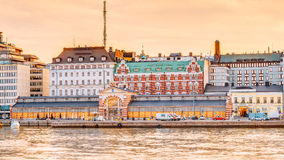 Panorama Of Old Market Hall Vanha kauppahalli In Helsinki At Summer. Sunset Evening, Sunrise Morning, Finland. Famous Place stock image