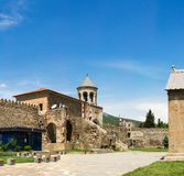 Panorama of old Orthodox cathedral in Mtskheta Royalty Free Stock Images