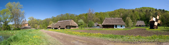 Panorama of old Polish village stock photography