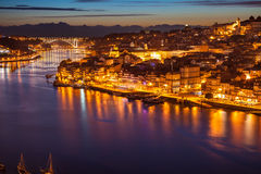 Panorama of old Porto and Douro river at night Royalty Free Stock Image