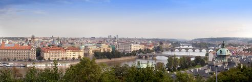Panorama of the old Prague Bridges, the Czech Republic Royalty Free Stock Photography