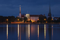 Panorama of old Riga at night Stock Photo