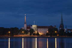 Panorama of old Riga at night Royalty Free Stock Photo